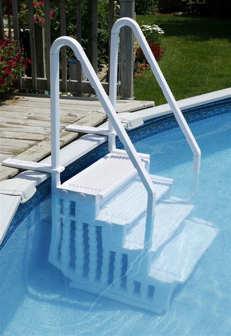 Above Ground Pool Ladder For Deck by Choosing A Ladder Or Steps For An Above Ground Pool