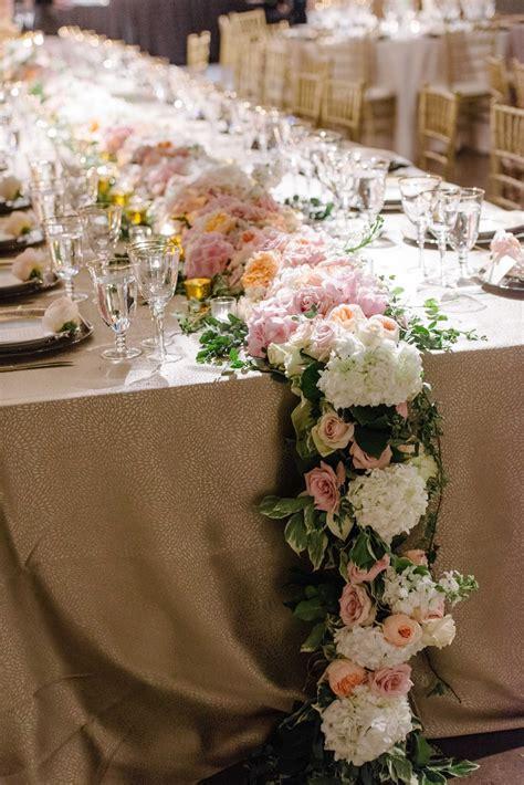 Reception Décor Photos Cascading Floral Table Runner