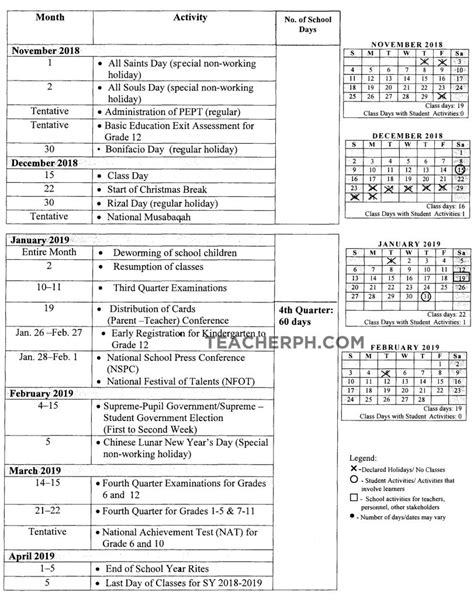 deped school calendar school year teacherph