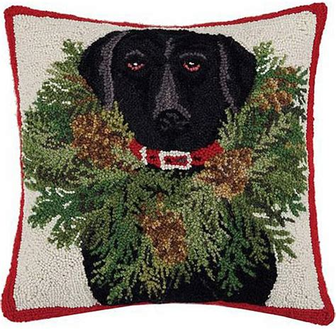 christmas black lab dog wreath hooked wool pillow  love