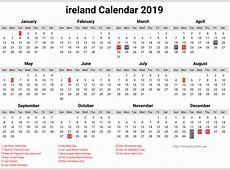 Printable Ireland Calendar 2019 With Public Holidays