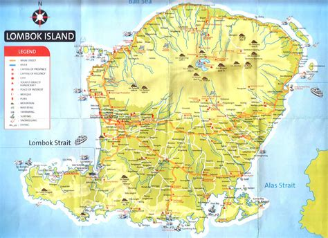 lombok island tourist map lombok mappery
