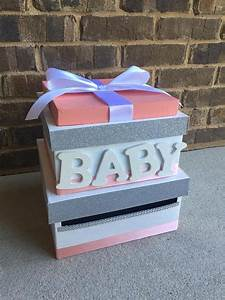 items similar to coral peach baby shower card box With baby shower letter boxes