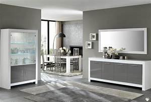 Ensemble Salon Sejour : marina laque blanc et gris ensemble sejour salle a manger lignemeuble com ~ Teatrodelosmanantiales.com Idées de Décoration