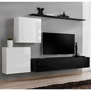 Meuble Tv 250 Cm : meuble tv mural design switch v 250cm blanc noir ~ Teatrodelosmanantiales.com Idées de Décoration