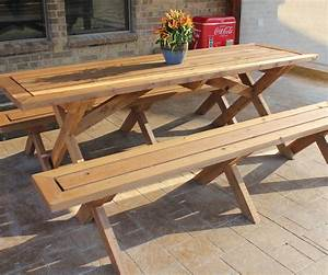 Long Outdoor Wooden Picnic Table With Detached Benches And