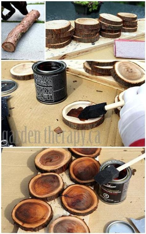 diy wood branch coasters or rustic wedding table numbers or place cards trusper