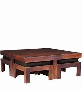 wooden square coffee table with four stools in light honey With light wood square coffee table
