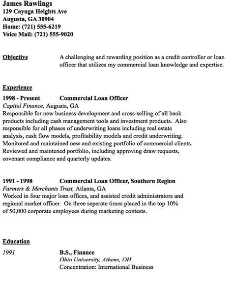 Loan Officer Resume by Commercial Loan Officer Resume Sle Http