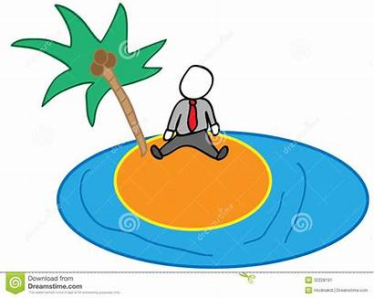 Island Cartoon Isolated Background Office Officeman Alone