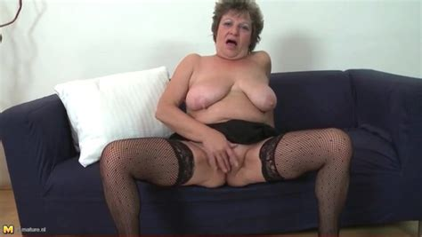 Saggy Tits Granny Masturbates In Stockings Granny Porn