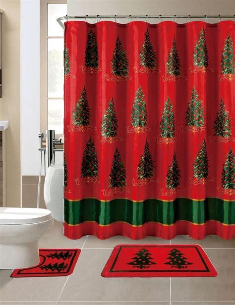 piece merry christmas trees theme shower curtain set ebay