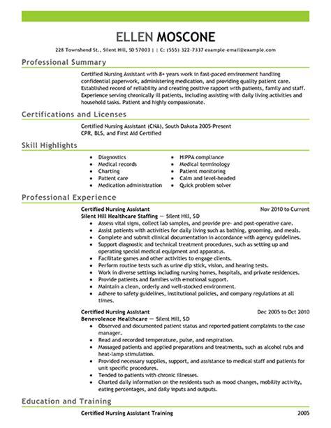 Resume Building Certifications by Best Certified Nursing Assistant Resume Exle Livecareer