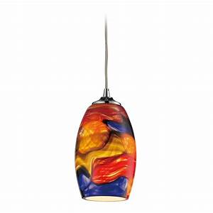 Modern mini pendant light with multi color glass