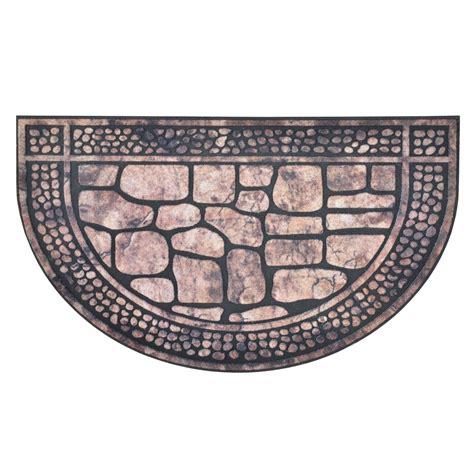 half doormat outdoor half moon shape modern design flocked rubber doormat