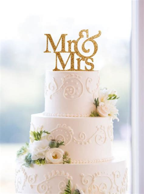 glitter mr and mrs wedding cake topper in your choice of