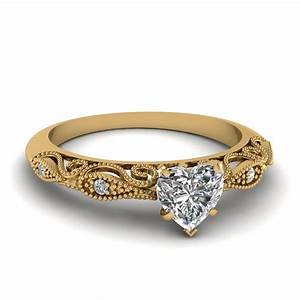 heart shaped paisley diamond ring in 14k yellow gold With heart shaped wedding rings