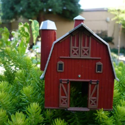vintage miniature red barn gardens farms  red barns