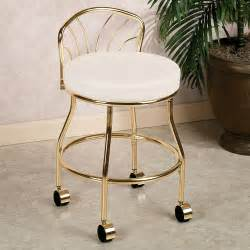gold metal bathroom vanity chair on wheels with low back