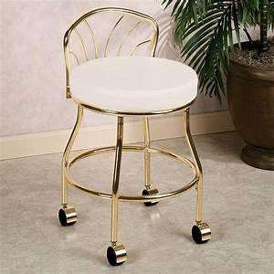 Gold metal bathroom vanity chair on wheels with low back for Vanity chair for bathroom with wheels
