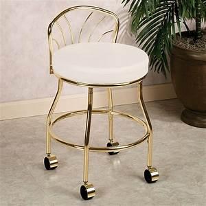 Gold metal bathroom vanity chair on wheels with low back for Vanity chair for bathroom with wheels