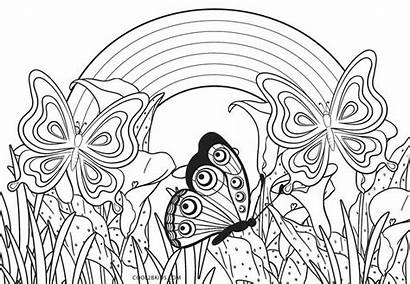 Rainbow Coloring Pages Flowers Printable