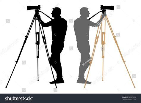 photographer tripod silhouette operator on tripod photographer cameraman stock