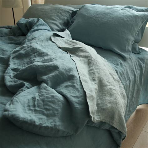 stone blue stone washed rhomb bed linen flat sheet by linenme notonthehighstreet com