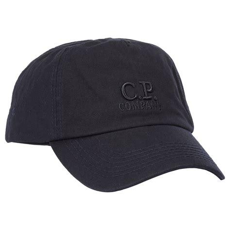 cp company hats tone logo cap in black john anthony mens designer clothes