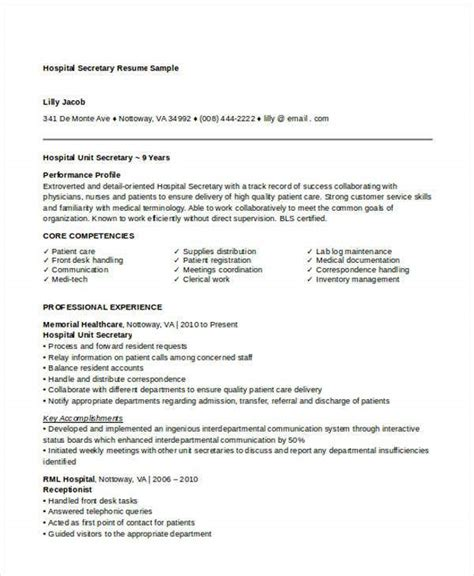 secretary resume templates  sample