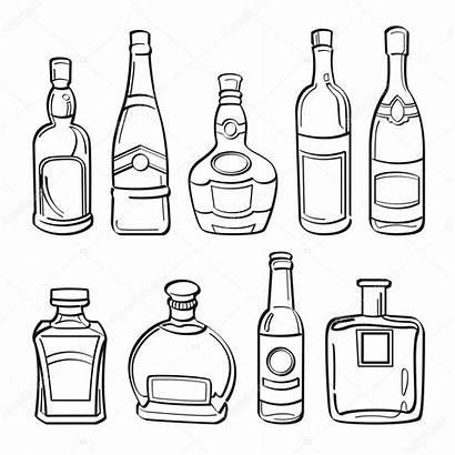 Bottle Alcohol Bottles Illustration Whiskey Drawing Vector