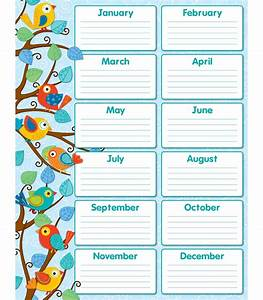 6 best images of classroom birthday calendar printable for Birthday chart template for classroom