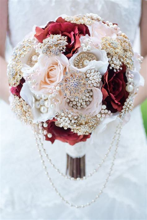 custom blush burgundy silk flower gold brooch bouquet