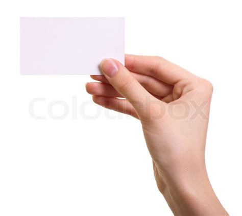 paper card  woman hand isolated  white background