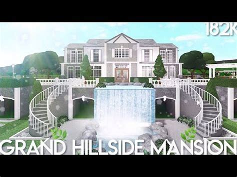 bloxburg grand hillside mansion speed build youtube   house plans  pictures