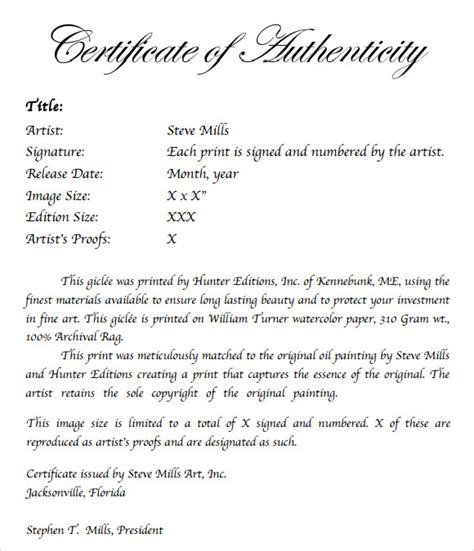 Certificate Of Authenticity Template Microsoft Word by Sle Certificate Of Authenticity Template 9 Free