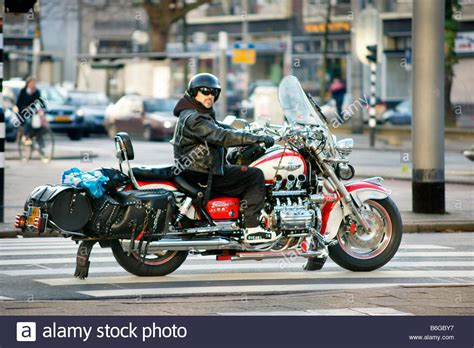 Motorbike Bike Rider Man Riding Honda Valkyrie F6c Red
