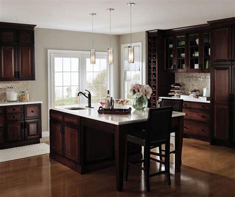 Dark Cherry Kitchen With Glass Cabinet Doors  Decora