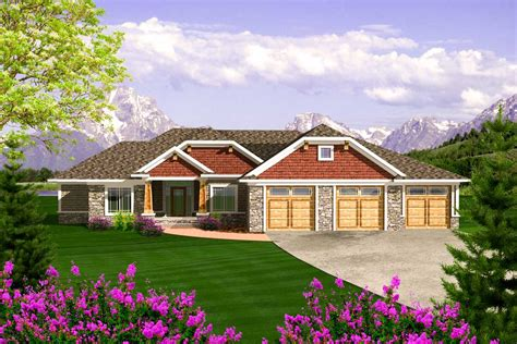 Houses With Garages by Craftsman Ranch With 3 Car Garage 89868ah