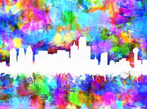 dallas colors dallas skyline vibrant colors painting by bekim