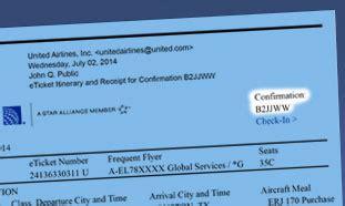find  flight confirmation number