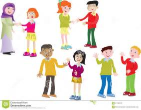 eight children greeting each other stock vector image 57738504