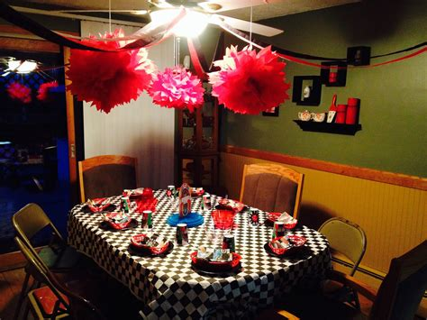 grease sock hop  themed birthday party table decor