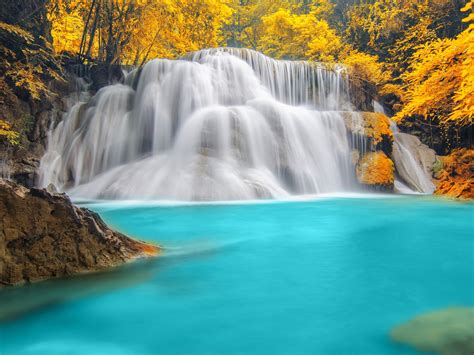 nature wallpaper forest trees river waterfall blue water