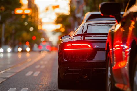 Sports Car, Bokeh, Tail Light, Downtown