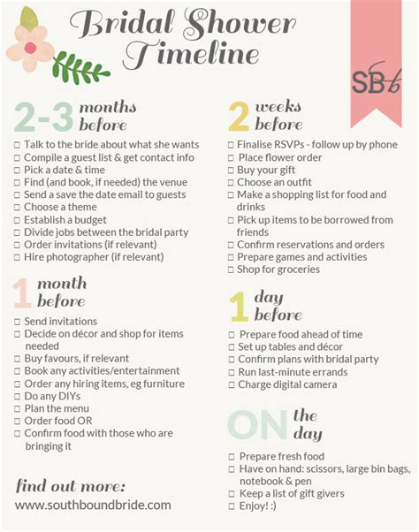 southbound guide   plan  perfect bridal shower