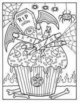 Coloring Halloween Cupcakes Adult Cupcake Witch Digital Books Zum Mandala Spooky Seiten Fall Instant Digi Stamp Crafts Adults Deborah Muller sketch template