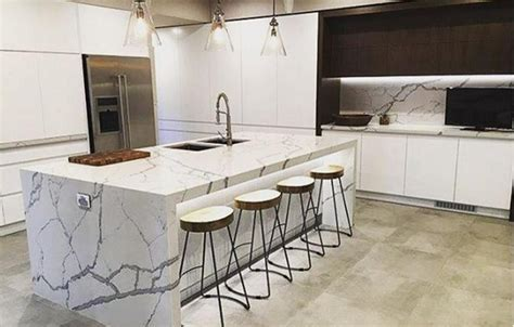Prefab Custom Design Modern Kitchen Decor White Calacatta