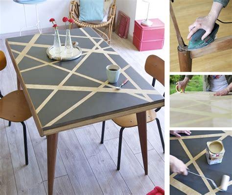 vieille cuisine repeinte relooker une table avec des effets graphiques diy