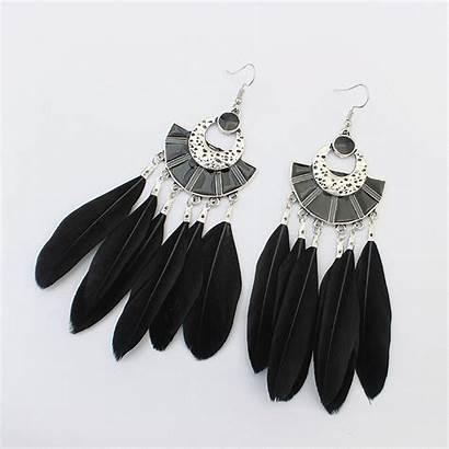 Earrings Feather Jewelry Wholesale Drop Shaped Dangle